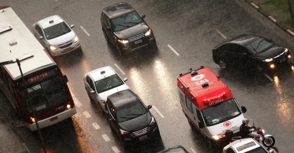 23.fev.2015 - Motoristas enfrentam forte chuva na tarde desta segunda-feira (23) na avenida Brigadeiro Faria Lima, no bairro Jardim Paulistano, zona oeste de São Paulo