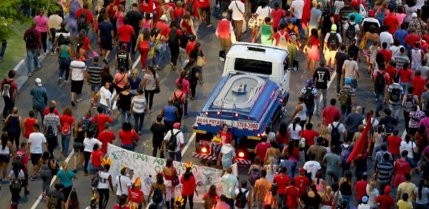 Integrantes do MTST durante protesto contra a falta de água no Estado de São Paulo