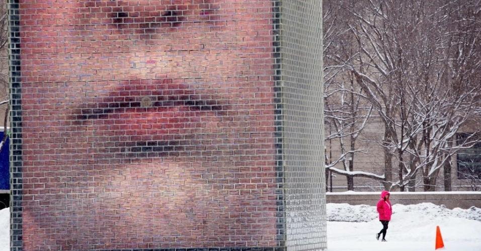 26.fev.2015 - Uma visitante caminha pela Crown Fountain enquanto neva no Millennium Park, em Chicago, Illinois (EUA), nesta quinta-feira (26)