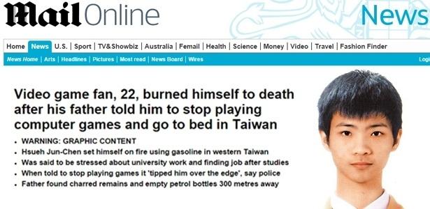 Hsueh Jun-Chen, 22, era fã de jogos online