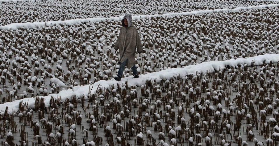 2.mar.2015 - Um menino caminha por um campo coberto de neve em Srinagar, na da Caxemira indiana. A neve afetou a única estrada que liga essa região ao restante da Índia