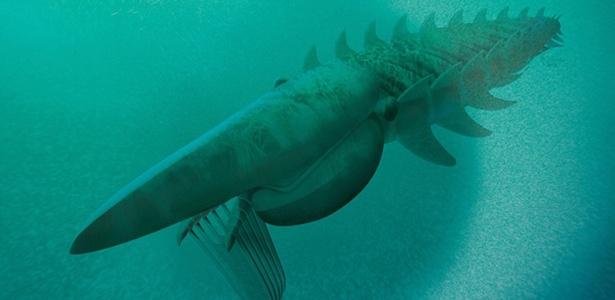 Ilustração do Aegirocassis benmoulae (da extinta família dos anomalocaridídeos), um monstro marinho similar a um crustáceo de dois metros de comprimento, que vagava pelos mares há 480 milhões de anos, e se alimentava de plâncton, assim como as baleias. É um dos maiores artrópodes que já viveu na Terra, segundo pesquisadores da Universidade de Oxford, no Reino Unido