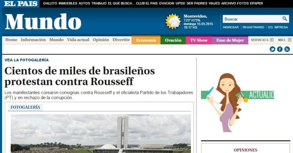 15.mar.2015 - Diversos jornais internacionais noticiaram os protestos contra o governo federal realizados neste domingo (15) no país. No geral, eles destacaram o grande número de pessoas que foi às ruas contra a presidente Dilma Rousseff