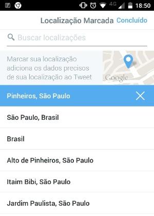 Atual localização do Twitter é genérica; se restringe a cidade e/ou bairro