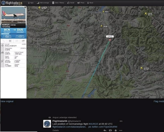 24.mar.2015 - Imagem de radar mostra a última posição do avião Airbus A320, da companhia alemã Germanwings, que caiu nos Alpes franceses. O Airbus A320 levava 144 passageiros e 6 tripulantes e ia de Barcelona, na Espanha, para Dusseldorf, na Alemanha