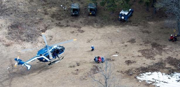 Operação da equipe de resgate em busca de destroços do avião da Germanwings