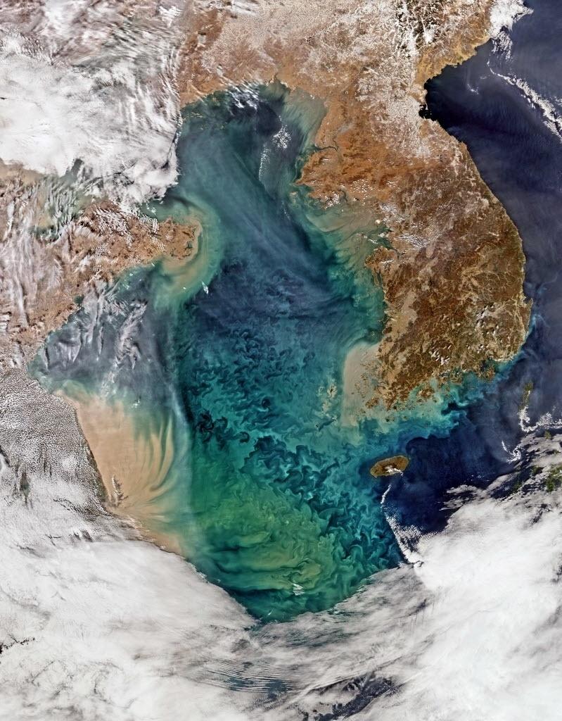 26.mar.2015 - Satélite da Nasa registra imagem do mar Amarelo, que banha o leste da China e o oeste das Coreias. A região do mar de Bohai, do mar Amarelo (ao centro), e do mar da China Oriental (inferior) é uma das áreas oceânicas mais turvas e dinâmicas do mundo, segundo o especialista em coloração de oceanos da Administração Oceânica e Atmosférica Nacional Menghua Wang. Na imagem, a área marrom ao longo da China mostra uma água turva, vista em regiões costeiras. De acordo com Wang, a pouca profundidade da água, correntes de maré e fortes ventos contribuem para a mistura de sedimentos