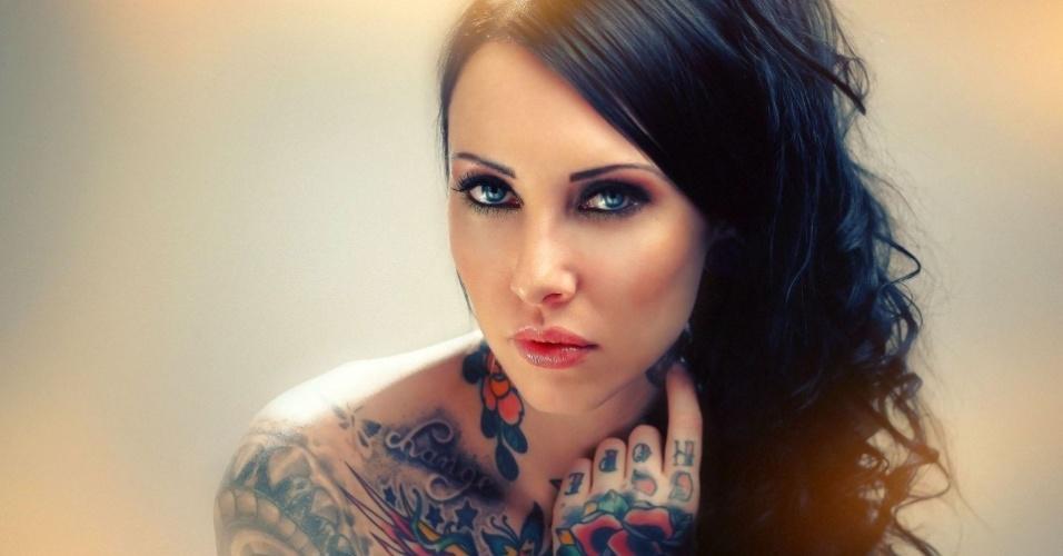 30.mar.2015 - A modelo Makani Terror está entre as mais procuradas no circuito de convenções internacionais de tatuagem. Ela foi um dos destaques da Convenção Internacional de Tatuagem de Frankfurt, na Alemanha
