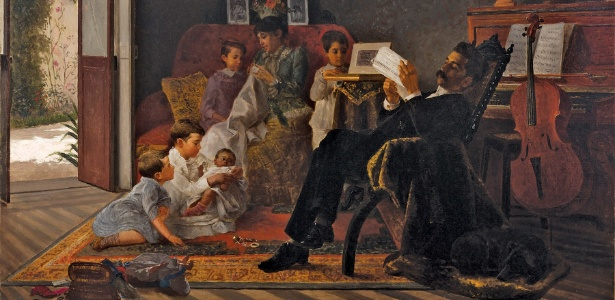 """Quadro """"Cena de família"""", 1891, de Adolfo Augusto Pinto (Acervo Pinacoteca do Estado de SP). No final do século XIX o pronome você já era mais formal que o tu"""