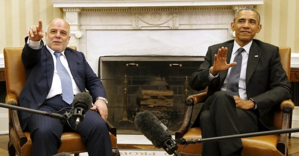 14.abr.2015 - O presidente Barack Obama se reuniu nesta terça-feira (14) com primeiro-ministro iraquiano Haider al-Abadi na Casa Branca e elogiou os importantes avanços que, com o apoio dos Estados Unidos, as forças iraquianas conseguiram contra o grupo Estado Islâmico