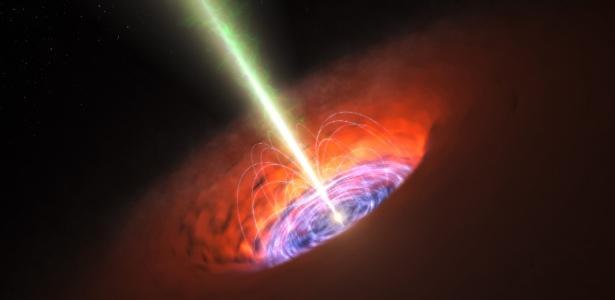 Impressão artística mostra o entorno de um buraco negro supermaciço