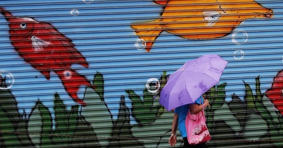 22.abril.2015 - A quarta-feira (22) começou com o tempo fechado em São Paulo. Uma frente fria está sobre o Sudeste e provoca chuvas sobre o Estado paulista. A temperatura máxima não passa dos 25ºC nesta tarde