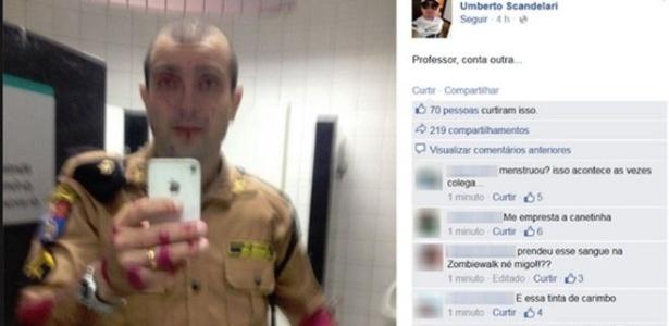"""O PM Umberto Scandelari postou em sua página no Facebook uma foto onde estaria coberto de """"sangue"""""""