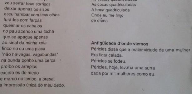 """À esquerda, parte do poema """"Ciuminho Básico"""", que causou espanto em pais de alunos"""
