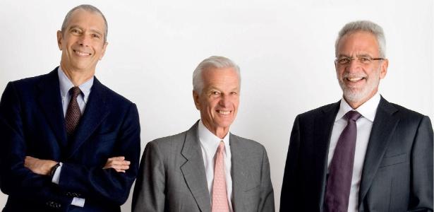 Os bilionários Beto Sicupira, Jorge Paulo Lemann e Marcel Telles (da esq. para a dir.)