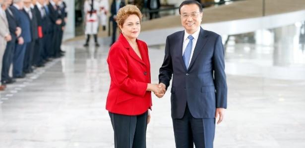 O primeiro-ministro chinês, Li Keqiang, e a presidente Dilma Rousseff