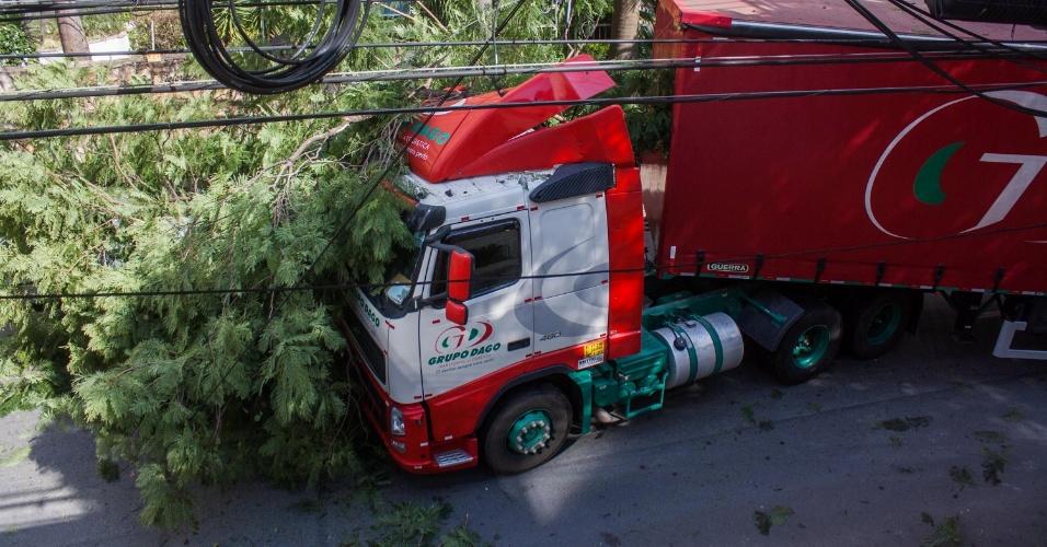 23.mai.2015 - Uma carreta derrubou uma árvore e parte da fiação elétrica na rua Humberto 1º com a rua Joaquim Távora, na Vila Marina, zona sul de São Paulo, na manhã deste sábado (23). Um carro estacionado no local foi atingido pelos frios