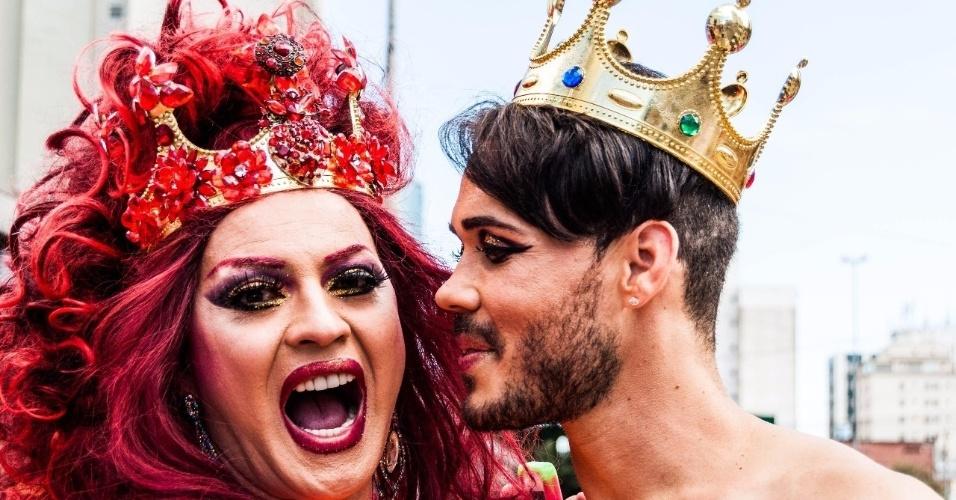 7.jun.2015 - Participantes ousaram nas fantasias na 19ª edição da Parada Gay de São Paulo, que acontece neste domingo, na avenida Paulista, região central de São Paulo. O tema deste ano é
