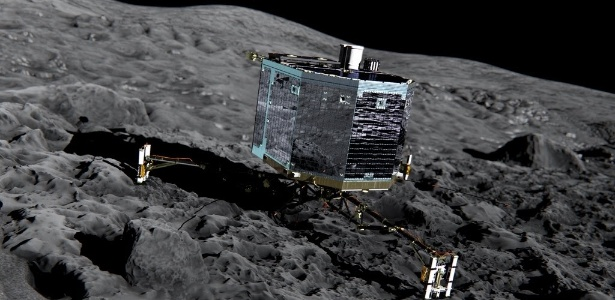 "O robô espacial europeu Philae, estacionado na superfície do cometa ""Chury"" desde novembro de 2014"