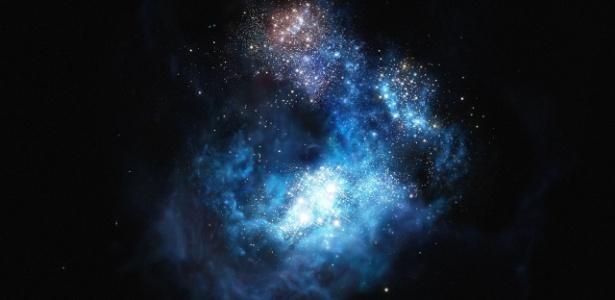 Imagem artística da galáxia CR-7, três vezes mais brilhante que a Himiko, até então a mais luminosa