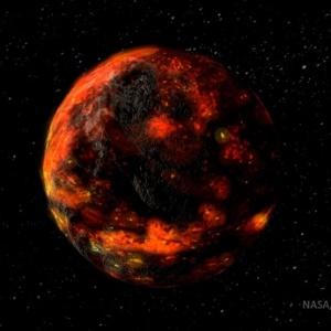 Representação artística mostra como deve ter sido o oceano de magma presente na Lua nos seus primórdios