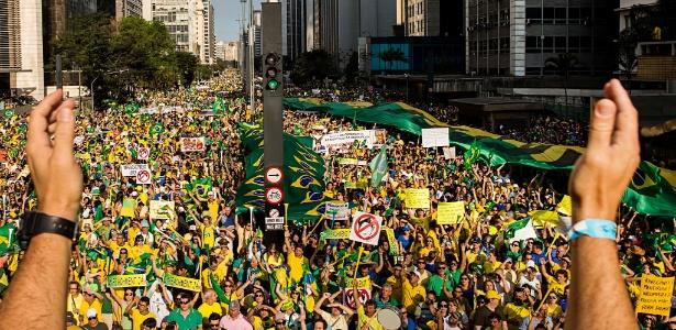 16.ago.2015 - Ato contra o governo Dilma promovido pelo MBL na av. Paulista