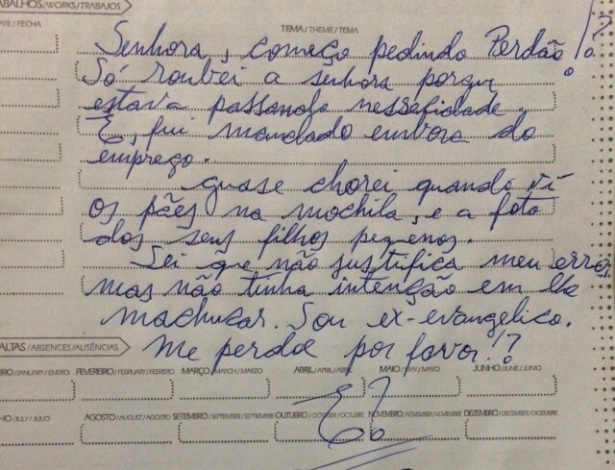Bilhete deixado por ladrão arrependido em MG