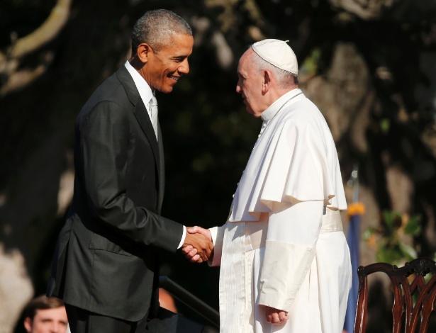 Francisco é recebido pelo presidente dos EUA, Barack Obama, na Casa Branca