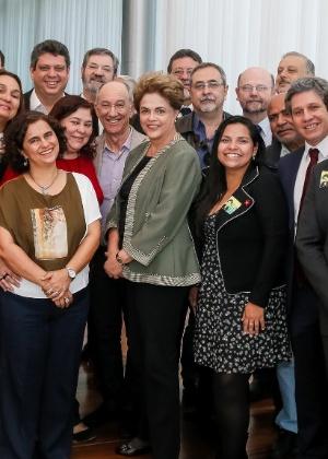 A presidente Dilma e integrantes do diretório nacional do PT