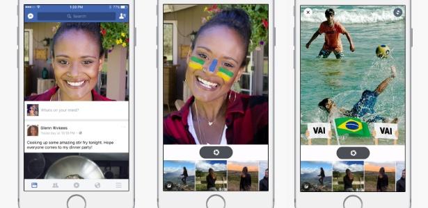 Facebook abre câmera imediatamente na área de novos posts na versão mobile