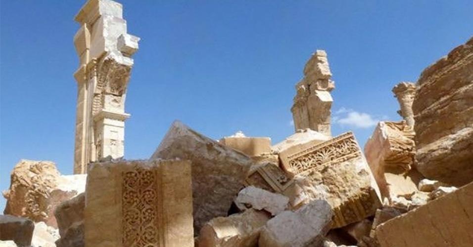 28.mar.2016 - Depois de dez meses sob controle do grupo extremista Estado Islâmico, a cidade histórica de Palmira, na Síria, foi libertada por tropas leais ao líder do país, Bashar al-Assad. O museu da cidade foi vandalizado. Ruínas da cidade estão em sua maior parte intactas