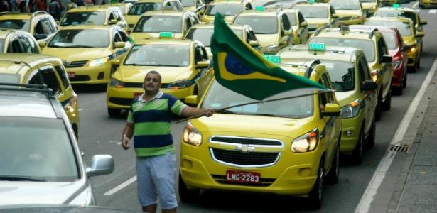 Taxistas fazem manifestações, em vários pontos da cidade do Rio de Janeiro, contra o aplicativo Uber