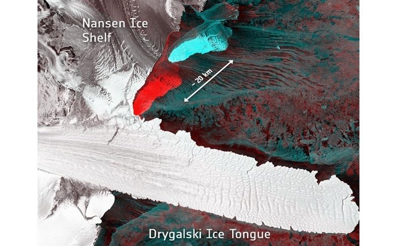 14.abr.2016 - Satélites registraram o nascimento de dois icebergs após rompimento com a plataforma de gelo Nansen, na Antártida, no último dia 7. Os icebergs têm cerca de 10 km e 20 km de comprimento e 5 km de diâmetro, e estão à deriva em direção ao nordeste da região