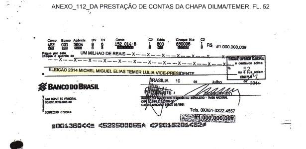 Documento entregue ao TSE na prestação de contas
