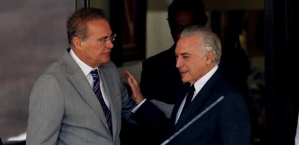 À esq., o presidente do Senado, Renan Calheiros (PMDB-AL), e o vice-presidente Michel Temer (PMDB-SP)