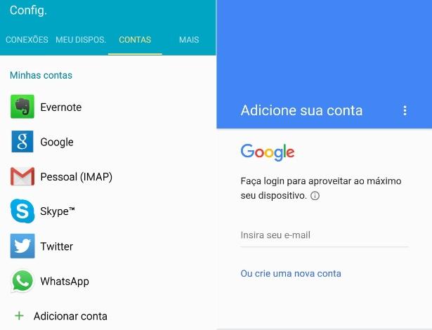 """De iPhone para Android - Passo 11: Já com o celular Android ligado em uma rede wi-fi, 3G ou 4G, clique no ícone """"Configurações"""" na área de apps, depois na guia  """"Contas"""". Se for um celular novo ou um de segunda mão de outra pessoa, será necessário logar sua conta do Google nele. Clique em """"Google"""". Depois entre com seu endereço de e-mail do Gmail e senha e siga os passos para incluir a conta Google no aparelho."""