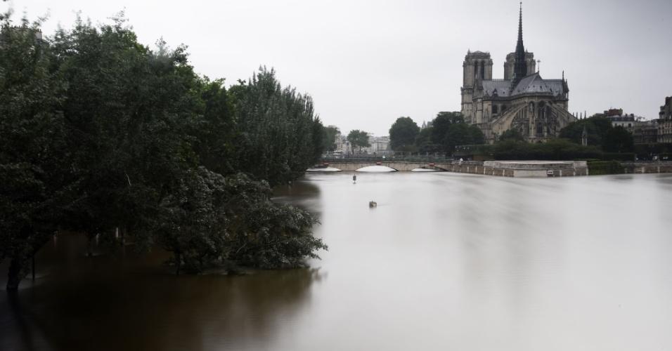 4.jun.2016 - Em Paris, na França, a Catedral de Notre Dame aparece ao fundo bem próxima ao rio Sena, que transbordou e inundou regiões da capital francesa. Os parisienses foram aconselhados a ficarem longe do rio, que tem sua pior enchente em 35 anos