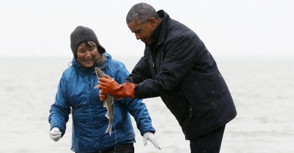 3.ago.2015 - Em visita ao Alasca, o presidente dos Estados Unidos, Barack Obama, visitou uma comunidade de pescadores que moram próximo ao rio Nushagak em Dillingham, região responsável pela maior quantidade de pesca do salmão vermelho. A foto foi tirada na quarta-feira (2) e divulgada nesta quinta