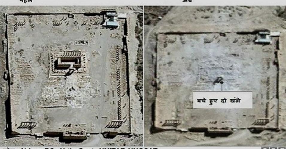28.mar.2016 - Imagens de satélite mostram que um templo de dois mil anos de fundação foi implodido. Após dez meses sob controle do grupo extremista Estado Islâmico, a cidade histórica de Palmira, na Síria, foi libertada por tropas leais ao governante do país, Bashar al-Assad