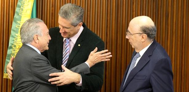 Rosso durante encontro com Temer e o ministro da Fazenda, Henrique Meirelles