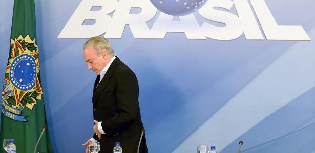O presidente Michel Temer deixa entrevista coletiva realizada no Palácio do Planalto