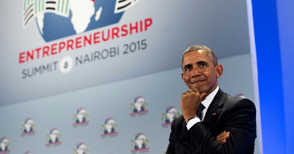 25.jul.2015 - O presidente dos EUA, Barack Obama, participa da Cúpula Global de Empreendedorismo, no complexo da ONU em Nairóbi, em 25 de julho de 2015. A sexta cúpula irá destacar investimento, inovação e empreendedorismo na África subsaariana. É a primeira vez que Obama visita oficialmente o país onde seu pai nasceu desde que foi eleito