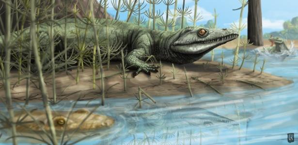 Em reconstrução, assim seria o réptil que circulou há 250 milhões de anos pelo Brasil