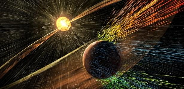 Arte mostra uma tempestade solar batendo em Marte e eliminando íons da atmosfera do planeta