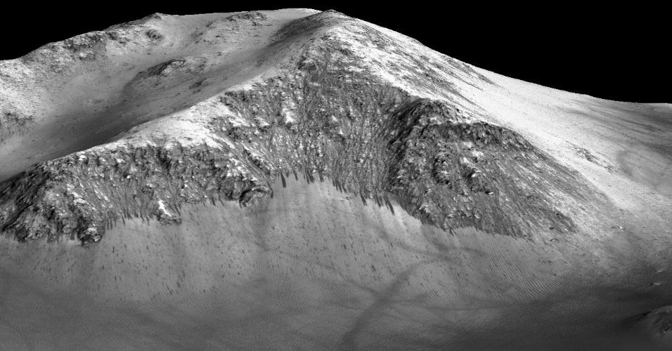 28.set.2015 - Cientistas identificaram estrias de 100 metros de comprimento em Marte que teriam sido formadas por água corrente nos dias de hoje. Eles usaram imagens da sonda Sonda MRO, que está em órbita do planeta vermelho, para analisar se as listras mais escuras que aparecem na foto mostram onde ficam essas estrias recorrentes que fluem no planeta