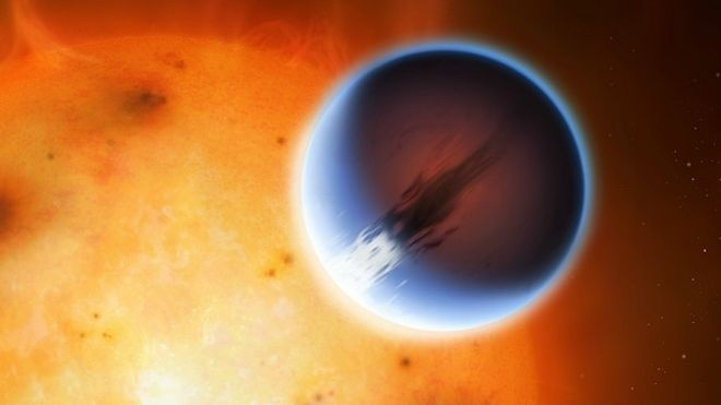 Uma ilustração do HD 189733b, um dos exoplanetas mais estudados pelos astrônomos