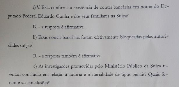O procurador-geral da República, Rodrigo Janot, confirmou à Câmara que o presidente da Casa, Eduardo Cunha (PMDB-RJ), tem contas na Suíça