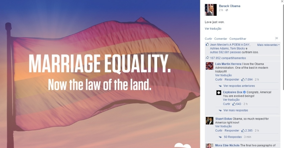 26.jun.2015 - Logo após a decisão da Suprema Corte dos Estados Unidos desta sexta-feira (26), que legalizou o casamento gay em todo o território americano, os perfis oficiais da Casa Branca e do presidente Barack Obama nas redes sociais comemoraram o histórico julgamento