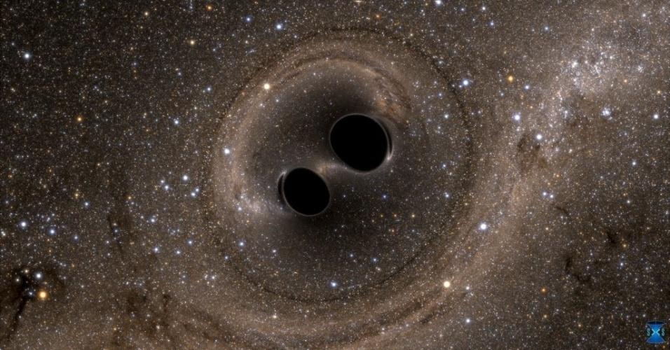 11.fev.2016 - Uma poderosa colsão entre dois buracos negros foi registrada pela primeira vez pelo Ligo (Observatório de Ondas Gravitacionais por Interferômetro Laser, sigla em inglês), que fica em Washington (EUA). Cientistas detectaram pela primeira vez ondas gravitacionais - ondulações no espaço e no tempo previstas por Albert Einstein há um século. A descoberta foi um marco na ciência moderna e abre uma nova janela dos estudos dos cosmos