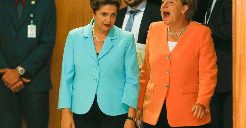 20.ago.2015 - Na quinta-feira (20), Dilma Rousseff fizeram uma coletiva de imprensa no Palácio do Planalto. A visita de Merkel coloca o Brasil em um seleto grupo de parceiros mais próximos da Alemanha - a maior economia europeia só mantém esse tipo de relacionamento com oito países: França, Itália, Espanha, Polônia, Israel, Rússia, China e Índia
